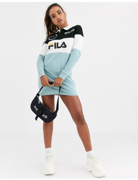Fila Long Sleeve Rugby Shirt Dress In Colour Block by Fila
