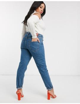 Vero Moda Curve Mom Jean In Medium Blue by Vero Moda