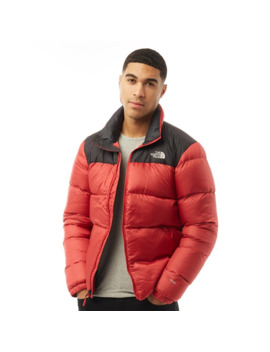 The North Face Mens Nuptse Iii Zip In Insulated Jacket Rage Red/Tnf Black by The North Face
