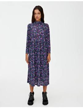Vestido Preto Com Estampado E Gola Perkins by Pull & Bear
