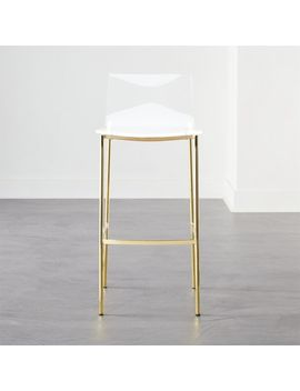 "Chiaro Clear Bar Stool 30"" Gold by Crate&Barrel"