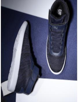 Men Navy Blue Woven Design Mid Top Sneakers by Crew Street