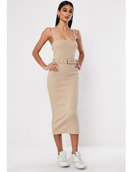 Tall Stone Strappy Ribbed Midi Dress by Missguided