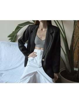 2779o / Black Woven Linen Blazer Jacket / Minimalist Black Linen Blazer / S / M by Etsy