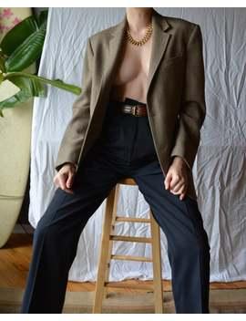 Vintage Herringbone Blazer / Tan Herringbone Blazer / Wool Herringbone Blazer / Herringbone Sportcoat / Vtg Herringbone Sportcoat / M L 2 4 by Etsy