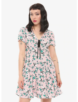 Pink Skulls & Flowers Retro Dress by Hot Topic