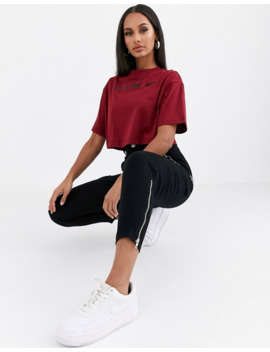Nike Burgundy Oversized Crop T Shirt by Nike