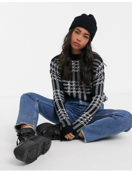 Noisy May Monochrome Oversized Check Jumper by Noisy May