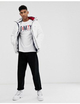 Tommy Jeans Essential Hooded Puffer Jacket In White With Large Flag Logo by Tommy Jeans