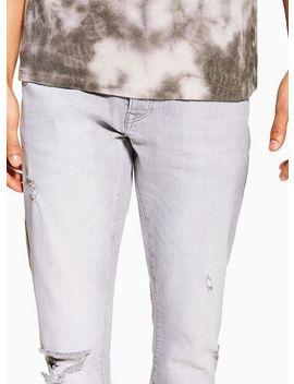 Grey Ripped Slim Jeans by Topman