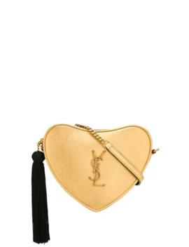 Monogram Heart Metallic Cross Body Bag by Saint Laurent