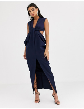 Asos Design Twist And Drape Cut Out Midi Dress by Asos Design