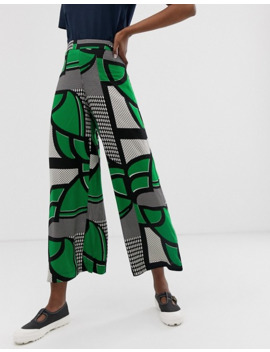Weekday Wide Leg Pants In Green Grid Print by Weekday