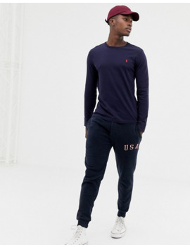 Polo Ralph Lauren Long Sleeve Top With Icon Logo In Navy by Polo Ralph Lauren