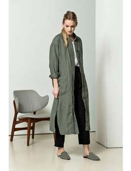 New Green Linen Dress Coat For Women With Pockets, Loose Linen Dress With Long Sleeves, Long Linen Raincoat, Linen Robe, Coat With Buttons by Etsy