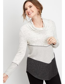 Chevron Colorblock Cowl Neck Pullover by Maurices