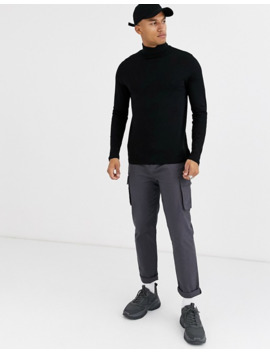 Asos Design – Langärmliges T Shirt Mit Rollkragen In Schwarz by Asos