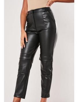 Black Faux Leather Cargo Cigarette Trousers by Missguided