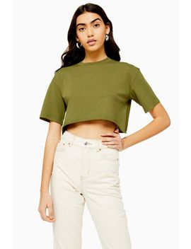 Khaki Washed Crop T Shirt by Topshop