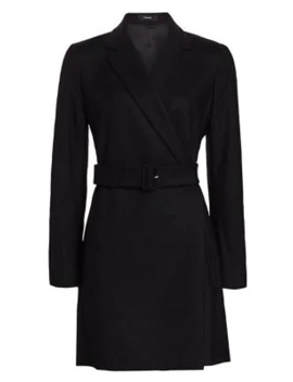Belted Stretch Wool Blazer Dress by Theory