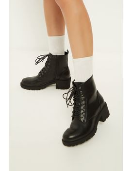 Black Tape Lace Up Work Boots by Select