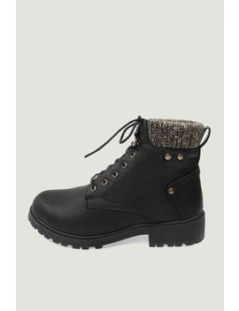 Black Knit Top Hiker Ankle Boots by Select