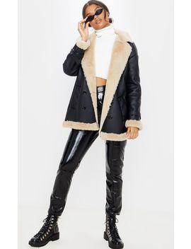 Black Pu Faux Fur Trim Vintage Style Coat  by Prettylittlething