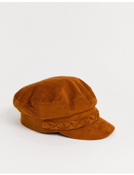 Asos Design   Berretto Baker Boy A Coste Cuoio Con Dettaglio Intrecciato by Asos Design