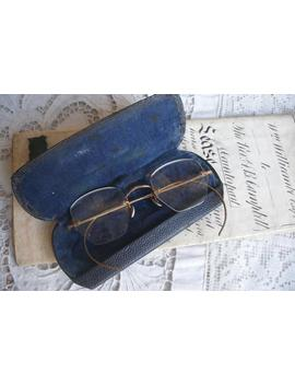 Antique Spectacles In Case, Unusual Shape, Bifocals by Etsy