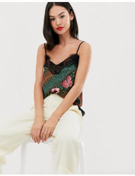 Outrageous Fortune   Top Con Spalline Sottili E Bordi In Pizzo Con Stampa Effetto Foulard by Outrageous Fortune