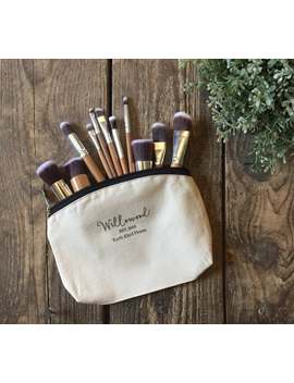 Bamboo Makeup Brush Set & Natural Cotton Makeup Bag   Brushes Vegan Friendly Storage Pouch   Zero Waste   Plastic Free   Sustainable Beauty by Etsy