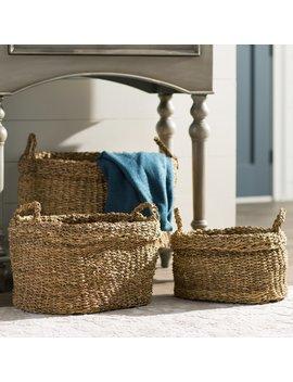 Arona Seagrass Oval Wicker/Rattan Basket by Birch Lane™ Heritage