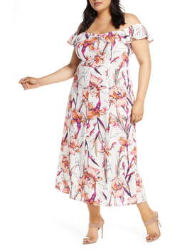 Floral Print Ruffle Flounce Dress (Plus Size) by Leith