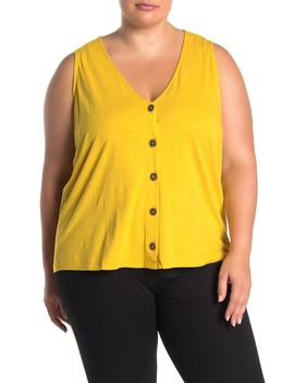 Button Front Knit Tank (Plus Size) by Sanctuary