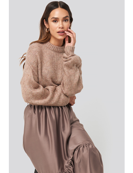Round Neck Oversized Knitted Sweater Pink by Na Kd Trend