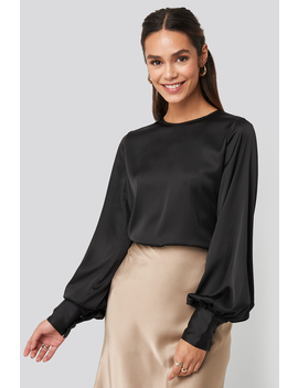 Balloon Sleeve Satin Blouse Black by Na Kd Trend