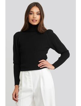 Turtleneck Sleeve Detailed Sweater Black by Trendyol