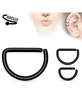 Cartilage Tragus Septum Nose Hoop Ring D Shaped Titanium Anodized Annealed 16g by Ebay Seller