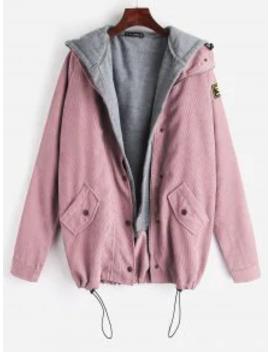 Hot Salezaful Fleece Vest And Corduroy Jacket Twinset   Light Pink M by Zaful
