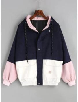 Hot Sale Hooded Color Block Corduroy Jacket   Purplish Blue S by Zaful