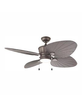 Pompeo 52 In. Integrated Led Indoor/Outdoor Natural Iron Ceiling Fan With Light Kit by Home Decorators Collection