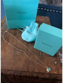 "Tiffany & Co Mini Double Heart Tag Blue Enamel Pendant Necklace 18"" Silver by Silver"