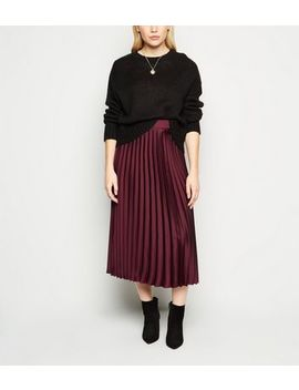Petite Burgundy Satin Pleated Midi Skirt by New Look