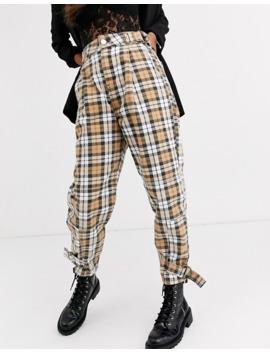 Asos Design   Jean Boyfriend Ajusté Avec Anneau En D à La Taille Avec Coutures Incurvées Et Imprimé à Carreaux by Asos Design