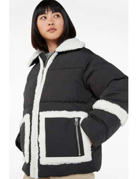Faux Shearling Puffer Jacket by Monki