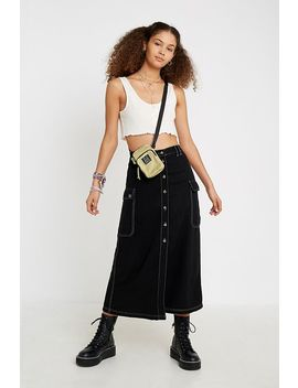 Uo Utility Button Through Midi Black Skirt by Urban Outfitters