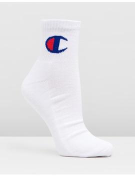 Logo Quarter Crew 3 Pack Socks by Champion