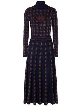 Night Cutout Metallic Intarsia Wool Blend Midi Dress by Temperley London