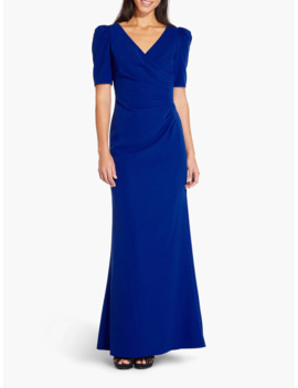 Adrianna Papell Elbow Sleeve Long Gown Dress, Royal Sapphire by Adrianna Papell