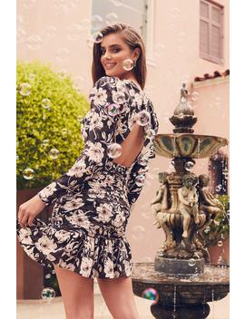 Floral Ruched Open Back Dress by Boohoo